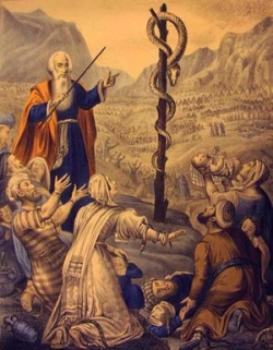 Moses and the Bronze Snake painting