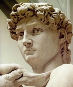 "A head shot of Michelangelo's ""David"""