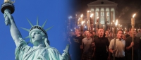 Lady Liberty beside torch-wielding white supremacists